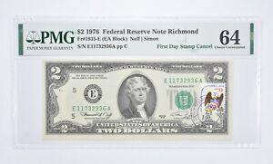 Rare PMG Grade 64 FR1935-E (EA Block) 1976 $2 Note Bill 1st Day Issue Stamp *912