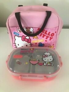 FINEX Hello Kitty Lunch Bag Zippered Soft Insulated Lunch Box + Bento Box PINK