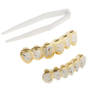 18K Gold Plated DIAMOND CUT Grill Tooth Hip Hop Grill Top & Bottom Set