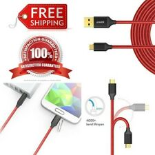 6 Ft Micro USB Cable Durable Braided Lightning Fast Charging Anker PowerLine RED