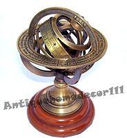 Nautical Engraved Brass Tabletop Armillary Sphere Globe Antique Desktop Decor