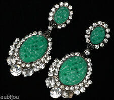 CHRIS CROUCH MOANS COUTURE FAUX JADE GREEN CARVED GLASS RHINESTONE DROP EARRINGS