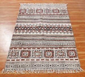 5x8 ft Indian Cotton Hand Block Printed Dhurrie Runner Carpet Handwork Area Rug
