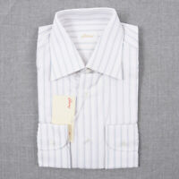 NWT $600 BRIONI Classic-Fit White-Sky Blue Stripe Cotton Dress Shirt 15.5