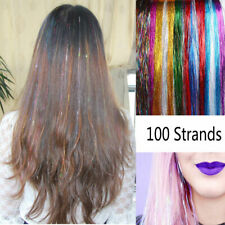 """100S- Holographic Sparkle Hair Tinsel Glitter Extensions Silver Dazzles  32"""""""