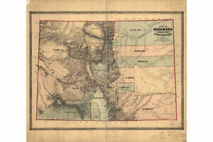 Map of Colorado Territory; Central Gold Region; Antique Map, 1862