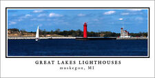 Poster Panorama Great Lakes Lighthouse Muskegon Panoramic Fine Art Print Photo