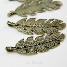 4pcs Antique Brass Tone Base Metal Charms-Feather 62x22mm (20278X-F-108B)