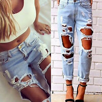 Damen Boyfriend Ripped Jeans Stretch Zerrissen Hose High Waist Denim Röhrenjeans