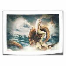 "8""x12""Mermaid and Giant Squid Home Decor Room HD Canva Print Picture Wall Art"