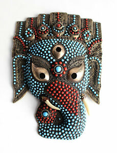 Ganesha Mask Turquoise & Coral Inlaid Hand Crafted Beautiful Wall Hanging