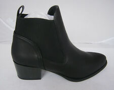 MADELINE BLACK BOOTIE ANKLE BOOTS 8 9 FAUX LEATHER SLIP ON STYLISH NEW
