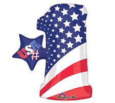 "USA #1 28"" Foil Balloon America Pride Stars and Stripes Helium Saver Large"