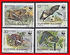 BULGARIA 1989 WWF - BATS  ANIMALS complete SET CTO- we have more WWF stamps !!!