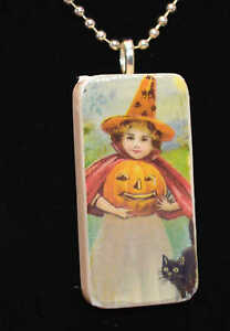 retro GIRL with PUMPKIN HALLOWEEN Domino Pendant necklace ooak