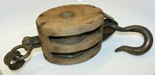 Vintage Madesco Products Block & Tackle Pulley, Farm, Nautical, Iron & Wood #2