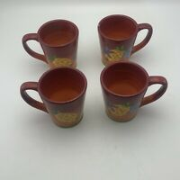 Laurie  Gates Gates Ware Lga128 Yellow Pineapple  Mug Cup Fruit Flowers Lot Of 4