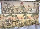2 Antique Belgian Tapestries Egyptian Oasis Pyramids Sphinx 18 x 51 Belgium