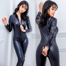 Womens Vinyl PVC Wetlook Leather CATSUIT CLUBWEAR Bodysuit Motor Jumpsuit Black