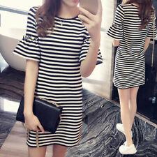 AU_ Fashion Stripes Summer Women Round Neck Short Flare Sleeve Loose T-Shirt Dre