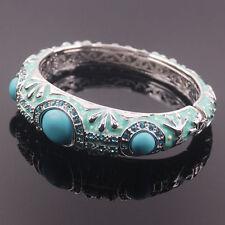 Beau Bracelet manchette en argent, émail et Turquoise et Topaze Bleu