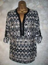 LADIES WALLIS TOP SIZE Medium 12-14, Stretch zip front tunic top, Animal print