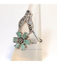 Anillo de plata, marcasitas y esmeraldas