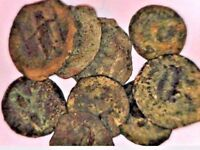 LOT OF 9 SMALL BRONZE GREEK UNIT COINS UNCLEANED PTOLEMAIC CLEOPATRA ZEUS EGYPT