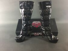 Iron Fist Digi Skull Zip UP BOOTS TALL Punk Goth Womens SZ 10 Heel Black NEW NIB