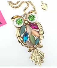 Betsey Johnson Necklace Colorful Owl  Green Eyes Crystals Gold Owl