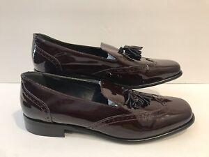 Carel Paris Womens Burgandy Patent Leather Wingtip Tassel Loafers Size 40.5