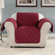 NIP SURE FIT NON-SKID MICROFLEECE CHAIR COVER BURGUNDY RED PET & KID FRIENDLY!