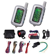 2 Way LCD Car Alarm Remote Engine Start Security System Vehicle Lorry Pager Kit