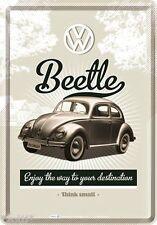 NOSTALGIC-ART cartolina lamiera 10x14cm VW BEETLE enjoy the way to your destination