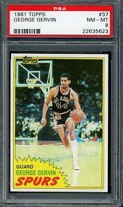 1981 Topps Basketball #37 George Gervin PSA 8