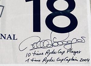 """Bernhard Langer Signed Ryder Cup Flag """"Multiple Inscriptions"""" JSA Certified AUTO"""