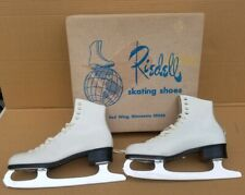 Vintage RIEDELL White Leather Figure Ice Skates sz 7 Red Wing, 120W MR 0837