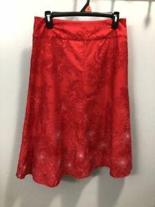 Red floral Christopher & Banks skirt size 4