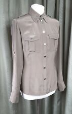Karen Millen 100% Silk Fitted Khaki Military Shirt with Poppers & Epaulettes UK8