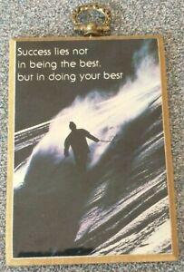 "Skier Plaque ""Success..."" 4"" Motivational Saying Plastic/Ceramic Look Desk/Table"