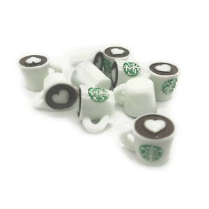 10Pcs Dollhouse Sticker Coffee Cups Mugs Miniature Model Accessories Love