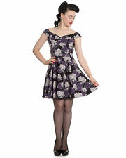 NEW Hell Bunny Purple Ilsa Rose Floral Mini Dress Rockabilly Pinup Girl XS