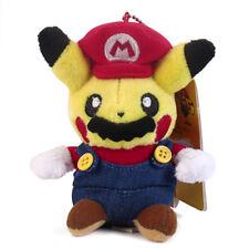 Pokemon Center Pikachu Mario Soft Plush Toy Super Mario Cosplay Figure 4.5 inch