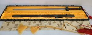 """Tai Chi Sword Jian Chinese Straight Double Sided w Scabbard 40"""" Damascus steel"""