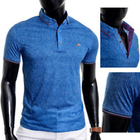 D&R Mens Polo Shirt Thin Soft Cotton Blue Metal Clips and Badge Slim Fit Fitness