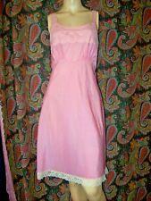 Vintage Lady Lynne Pink Empire Lace Silky Taffeta Slip Nighty Lingerie 38