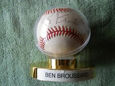 BEN BROUSSARD AUTOGRAPHED SIGNED BASEBALL Indians Mariners Texas Rangers