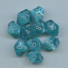 D10 DICE chx27265 Aqua w/Silver Dice Set D10x10