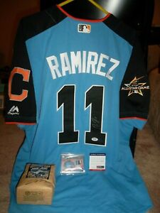 Jose Ramirez 2017 Signed All Star Jersey + Jersey Card #11/25 + Coffee Bag