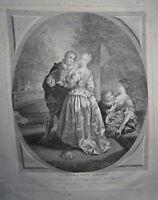 Jean RAOUX (1677-1734) GRANDE GRAVURE XVIII° SCENE ROMANTIQUE AMOUR FEMME HOMME